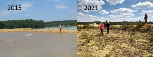 A place called a lagune. Six years ago flooded with water, nowadays dry and fast overgrowing. In 2015, we did not swim, but did science in practice: monitoring of aquatic macrophytes and plants of emerged bottoms!